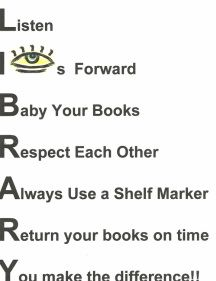 library rules poster - like the shelf marker idea - one per child?