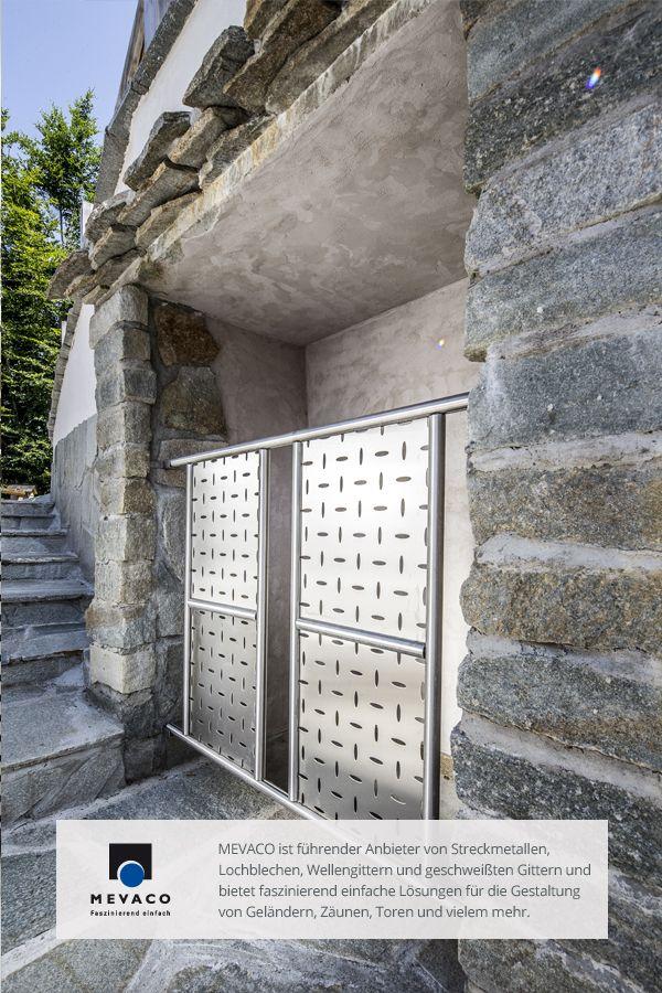 Ein gekonnter Stilbruch zwischen rauem Stein und glattem Metall. Die Wirkung ist einzigartig mordern. Für die notwendige Sicherheit an Balkon, Terasse und Einbuchtungen sorgt das MEVACO Lochblech Creativ Line. Mehr unter http://www.mevaco.de/fascination-48 #MEVACO #Lochblech #Edelstahl #Creativ-Line-Ellipse #FaszinationNo48 Mehr unter http://www.mevaco.de/fascination-48 #MEVACO #Lochblech #Edelstahl #Creativ-Line-Ellipse #FaszinationNo48