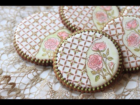 VIDEO: How to Stamp and Stencil a Cookie (aka Rose Lattice Cookie) by Julia M Usher.