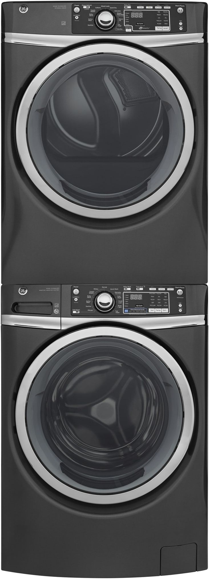 GE GEWADRGG3 Stacked Washer & Dryer Set with Front Load Washer and Gas Dryer in Diamond Gray