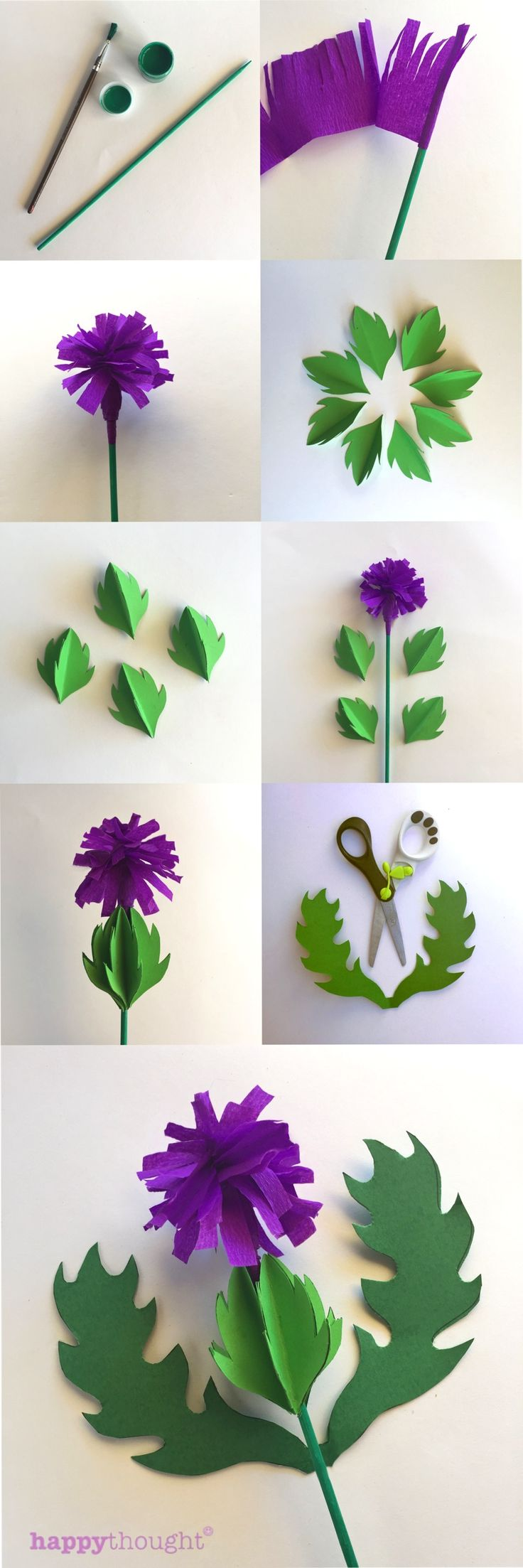 Lovely paper thistle! Template and tutorial by happythought.co.uk