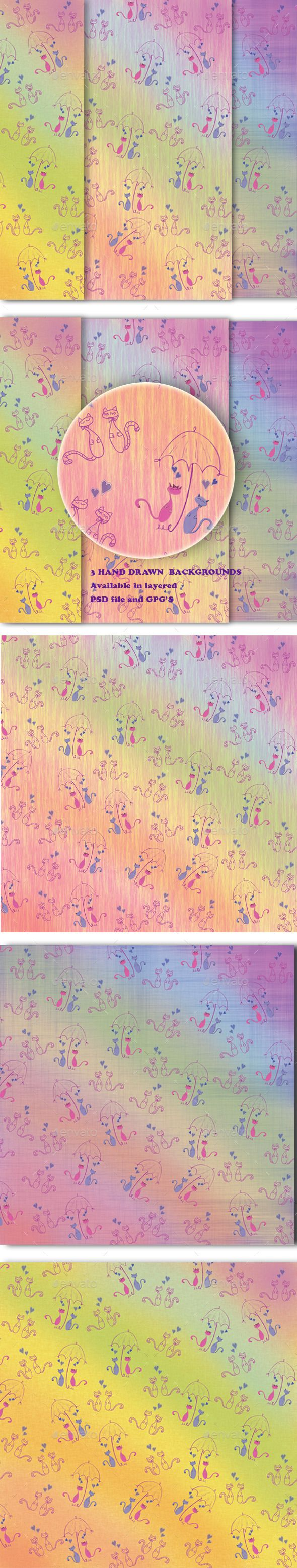 Romantic Background by Kaimen2011 Hand Drawen Backgrounds Set of 3 Seamless Pattern.(Backgrounds include elements: group of Cats, Umblella, Hearts,Background ) >> S