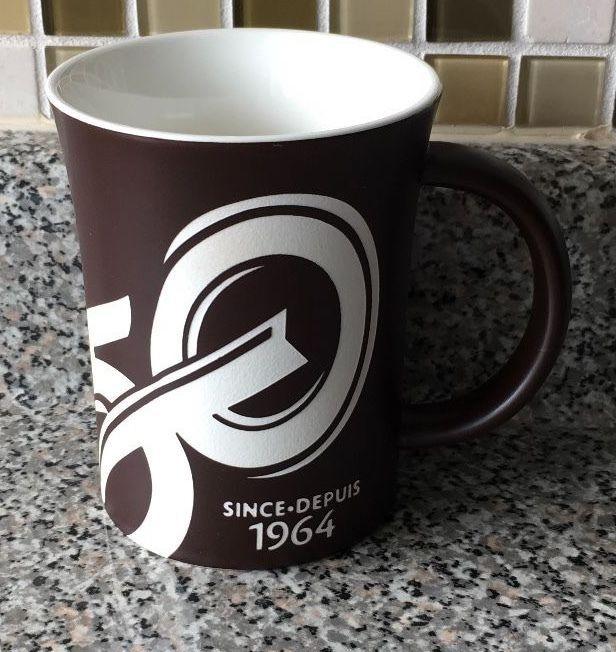 Tim Hortons Limited Edition Mug 50th Anniversary Coffee Mug Cup 2014 Dark Brown