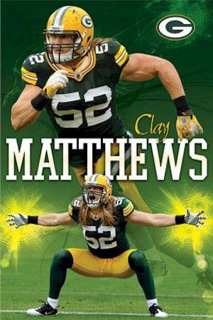 green bay packers football | NFL - Green Bay Packers Clay Matthews Relentless Football Poster