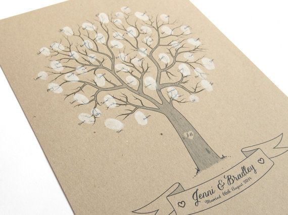 Rustic Wedding Fingerprint Tree  Personalised by STNstationery, £30.00