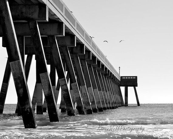 Fine Art Black and White Beach Pier by #KarenWebbPhotography #fpoe #photography