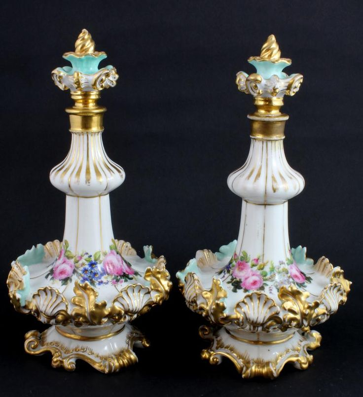 Pair of beautiful floral Antique Jacob Petit French porcelain decanters with stoppers.