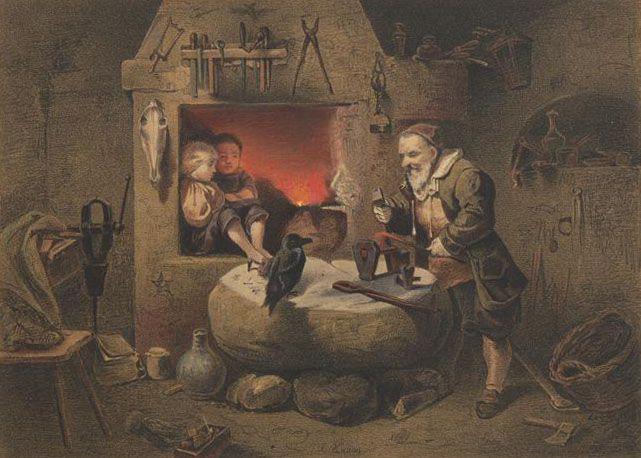Painting by Ludwig Knaus from Aquarelle Düsseldorfer Künstler : den kunstsinnigen Damen gewidmet 1861