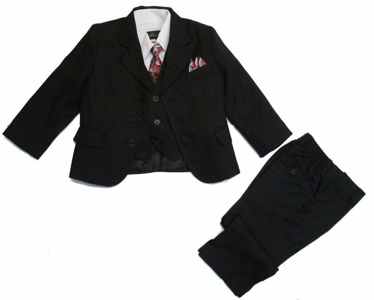Boys Kids Formal Dress Suit Black 5 pcs Jacket Vest Shirt Tie Pants Size 2t - 7 #Rafael #SingleBreastedSuit #GraduationDressyHolidayPageantPartyWedding