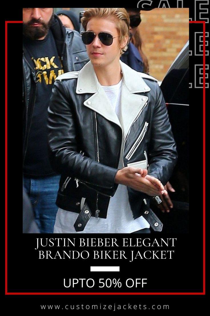 Justin Bieber Elegant Brando Biker Jacket Celebrities Leather Jacket Biker Jacket Jackets [ 1104 x 736 Pixel ]