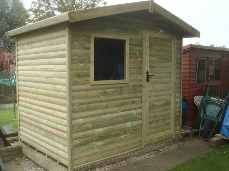 """AB buildings wiil be similar to this but door on other side; not loglap cladding. Square window 26"""" x 26"""" ; 3 """" overhang for roof; galvanised 12"""" hinges; 3mm toughened glass."""