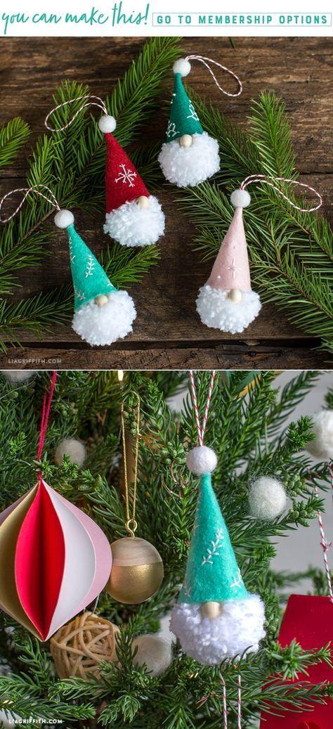 Pom Pom Gnome Ornaments - Lia Griffith - www.liagriffith.com #diyinspiration #diychristmas #diyornaments #diyholiday #diyholidays #tonttu #tomte #nisse #pompom #felt #feltcute #madewithlia