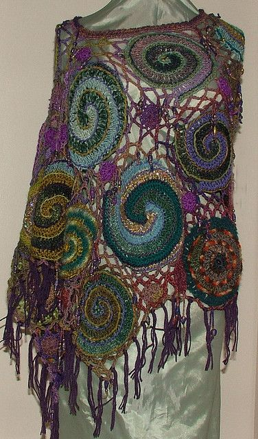 Spiral Web - Freeform Crochet poncho View 2 by renatekirkpatrick, via Flickr