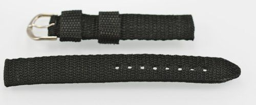 Mens Womens Stainless Silver Black Cloth Weave Replacement Watch Band 18mm