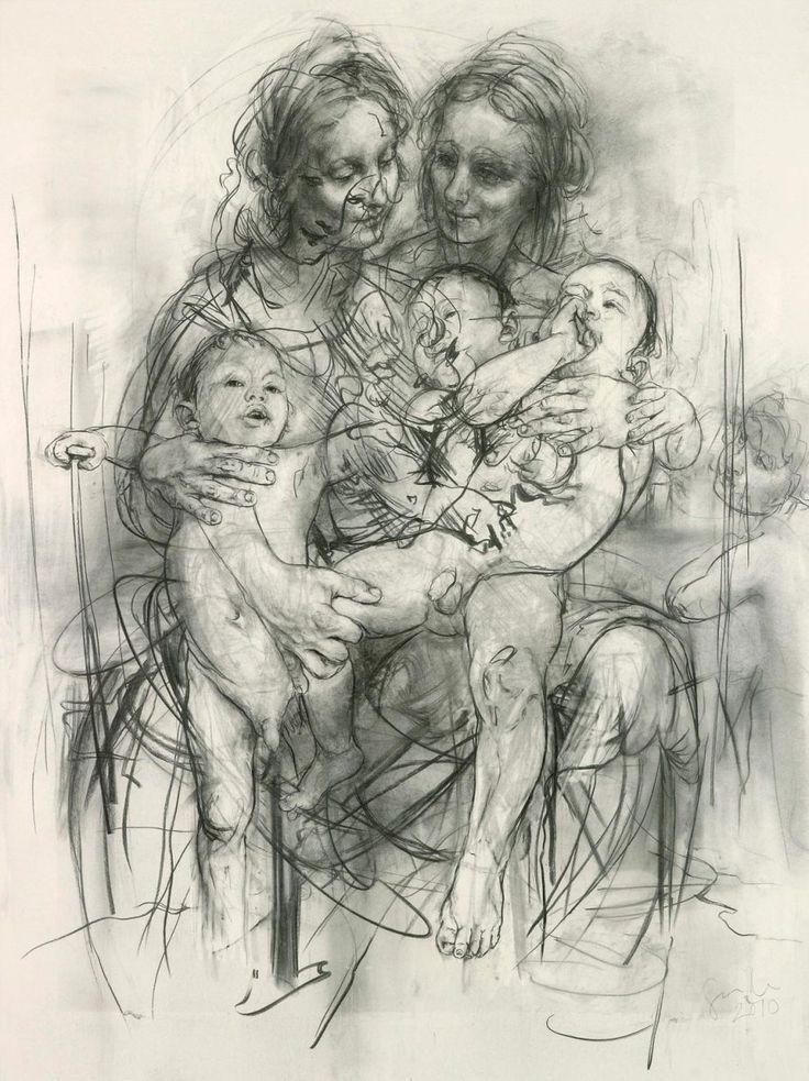2010 Reproduction drawing IV (after the Leonardo cartoon) by Jenny Saville
