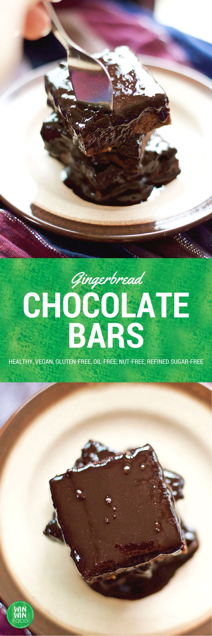 Gingerbread Chocolate Bars | WIN-WINFOOD.com #healthy #vegan #glutenfree