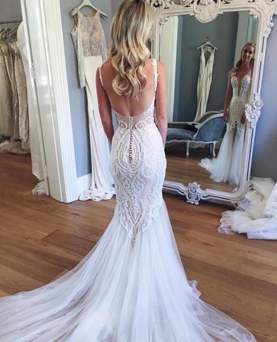 ce5c430f1a Mermaid Lace Deep V-neck Sleeveless Long Tulle Beach Wedding Dress