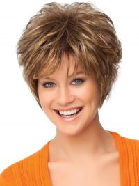 Faddish Auburn Curly Short Synthetic Wigs