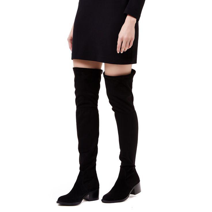 WHIMSY Carvela Whimsy Black Low Heel High Leg Boots by CARVELA KURT GEIGER