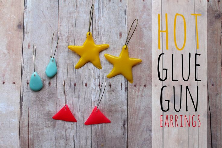 hot glue gun earrings - trim cooled glue with scissors, spray paint, poke hole with needle insert jump ring and hook