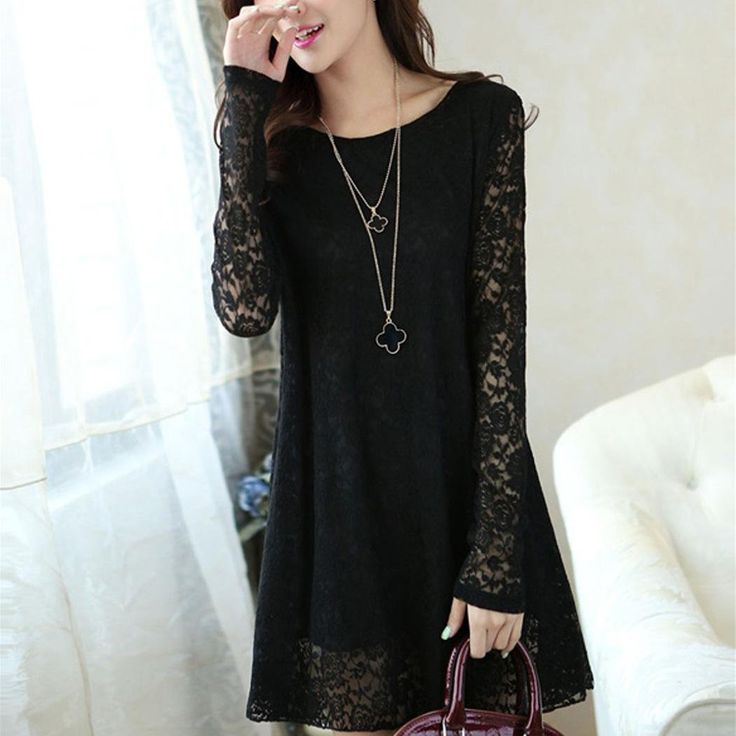 FINEJO Women Sheer Lace Long Sleeve Blouse Shirt Casual Loose Tunic Tops