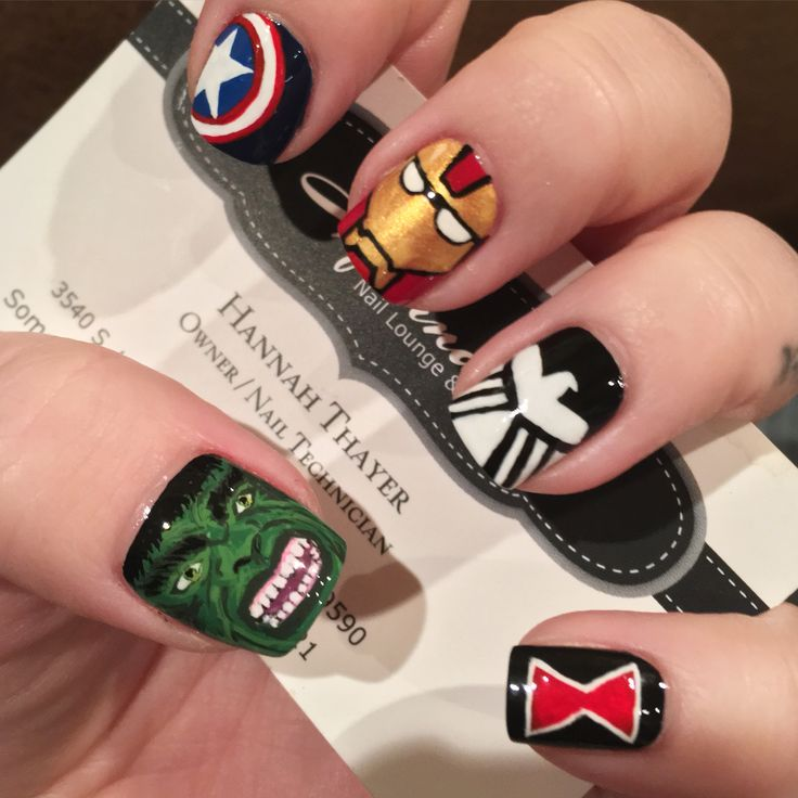 Hand painted Marvel's Avengers Nail Art - the Incredible Hulk, iron man, captain America , the shield, black widow  Nails By: Hannah Thayer  Hannah's Nail Lounge & Spa