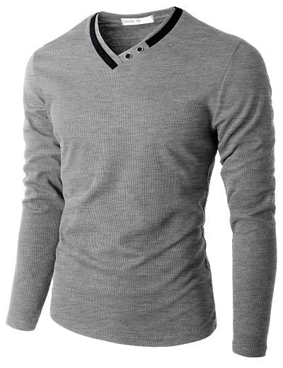Doublju Men's Long Sleeve T-Shirt with Neck Detail #doublju
