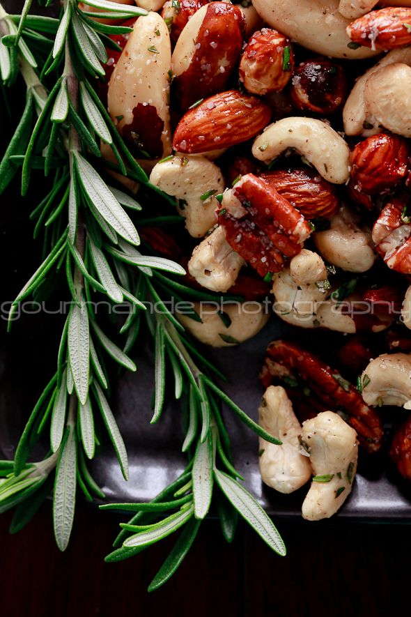 Spicy rosemary roasted nuts. My favorite part of college football season?-- The munchies I get to leisurely enjoy while my boyfriend screams at the TV like a madman.