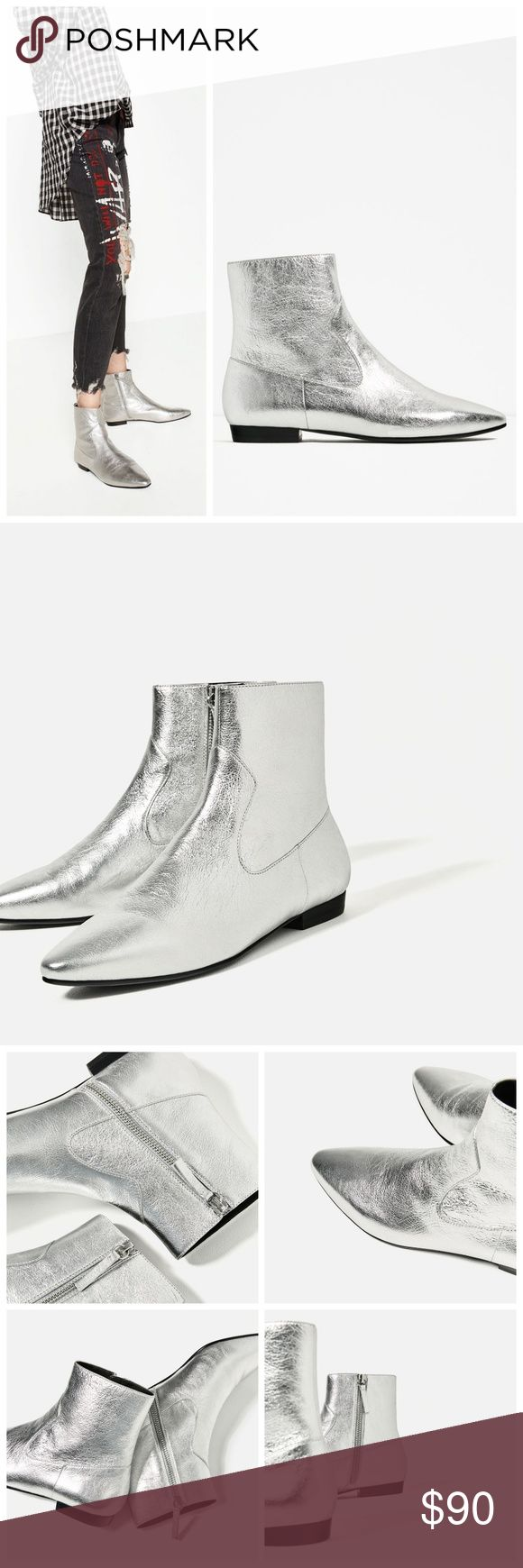 """ZARA Silver LEATHER Laminated Heel FLAT BOOT 37 Flat silver-tone genuine leather flat boots. Elongated pointed toe. Side zip closure. Very mod 1960's.  Brand new with tags. Comes from a new smoke-free home.  BRAND: Zara. SIZE: 37. OUTSOLE LENGTH: 9.75"""". OUTSOLE WIDTH: 3"""". HEEL HEIGHT: 0.675"""". Zara Shoes Ankle Boots & Booties"""