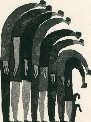 Falling together Aoki tetsuo woodblock print