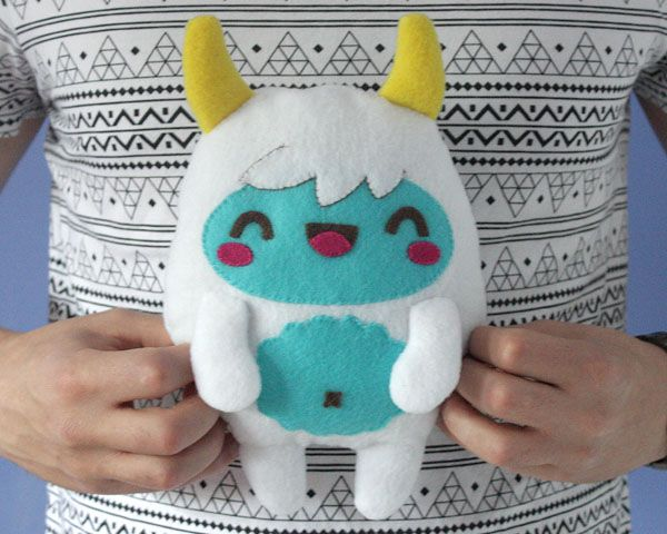How to Make a Kawaii Yeti Monster Plush Softie (with link to vector illustration tutorial)