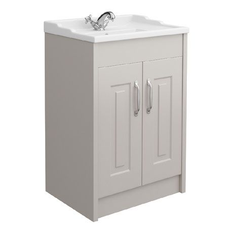 York Traditional Grey Bathroom Basin Unit 600 X 460mm