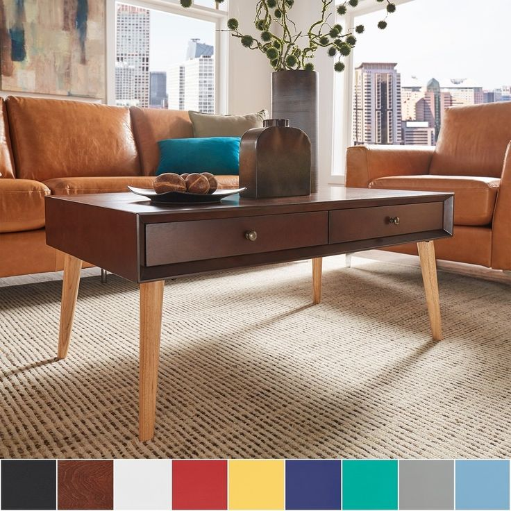 Marin Danish Modern 2-drawer Accent Coffee Table by MID-CENTURY LIVING - Free Shipping Today - Overstock.com - 19931925 - Mobile