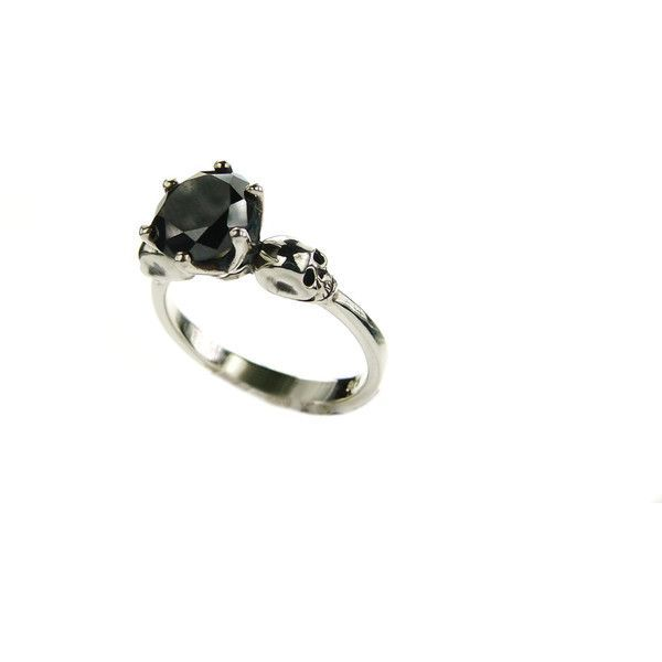 Womans Skull Ring Skull Engagement Ring Promise Ring Love to Death... (490 CAD) ❤ liked on Polyvore featuring jewelry, rings, goth rings, carved rings, wedding rings, skull jewellery and goth wedding rings