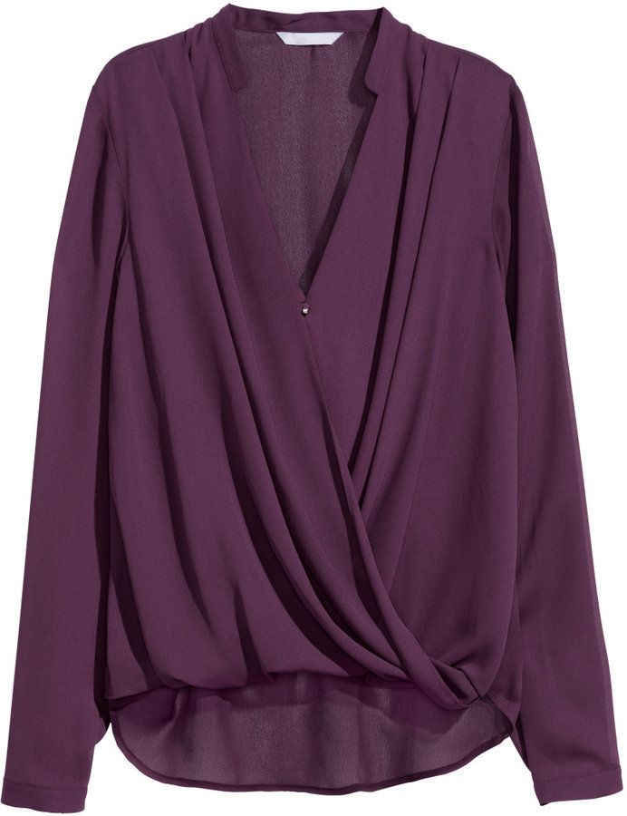 Love this top to pair with trousers - beautiful plum color - H&M - Draped Wrap-style Blouse - Burgundy - Ladies