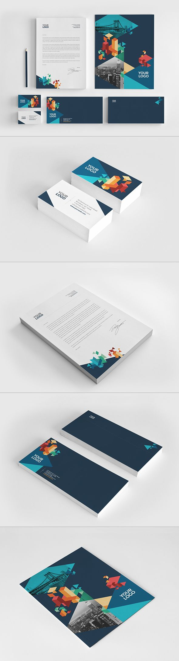 Colorful Blue Stationery. Download here: http://graphicriver.net/item/colorful-blue-stationery/11404263?ref=abradesign #stationery #design