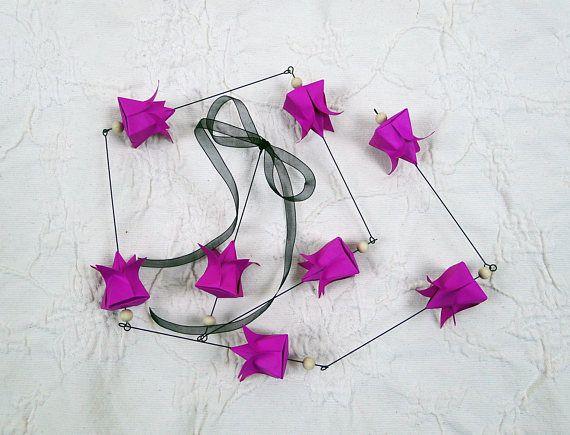 Guirlande origami 8 fleurs de lotus rose