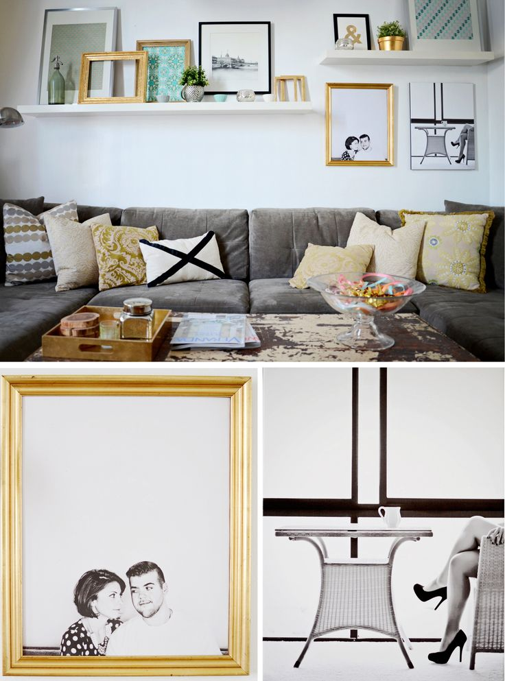 cozy sitting area with floating shelves and gold accents