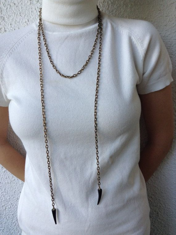 Long Chain Necklace with Horn Embelishment Bronze by alsoljewels