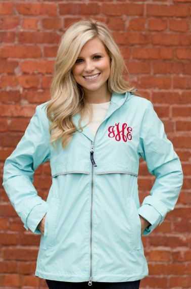 Monogrammed Rain Jacket - Women's Sizes want something like this for lounging. :)