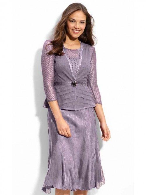 Casual Sleeveless A Line Chiffon Tea Length Jewel Mother Of The Bride Dresses