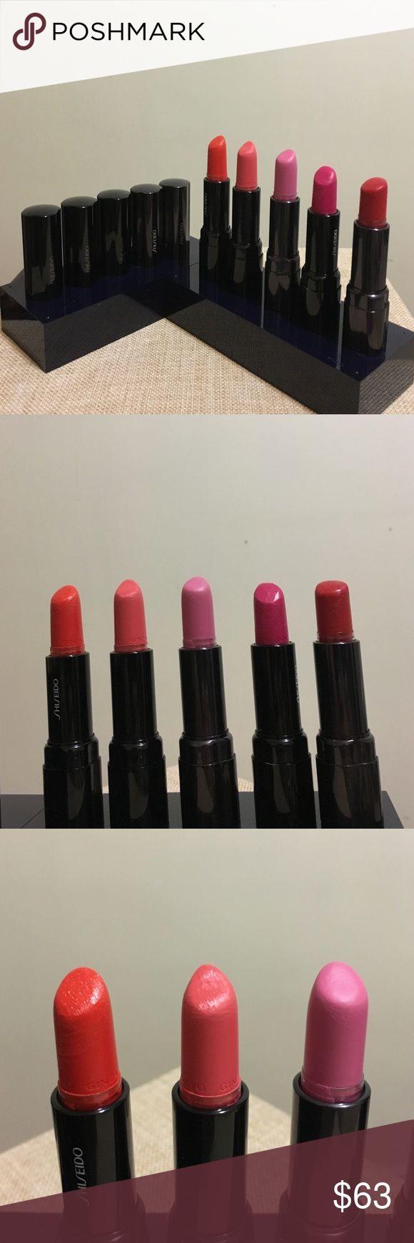 5 Shiseido lipsticks 5 Shiseido lipsticks. Used. Creamy. Love it's texture and pigment! SHISEIDO Makeup Lipstick