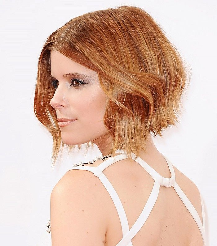 Kate Mara - The Angled Chin-Grazer This is the lob's older, more refined sister—with a surprising touch of edge, no less. Stopping just an inch or two below the chin, and inverted with lots of body in the back, this cut is for anyone who's ready to take their lob one step further