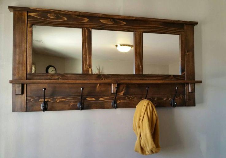 coat rack, wall coat rack, mirrored coat rack, rustic coat rack, wooden coat rack, entry way coat rack by MTrusticwoodwork on Etsy https://www.etsy.com/listing/181661539/coat-rack-wall-coat-rack-mirrored-coat