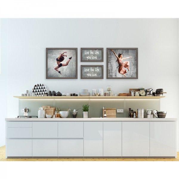 Mur de cadres MIX SAGE - Panorama de carrés et de rectangles. Retrouvez le sur notre site, à personnaliser avec vos photos ou non