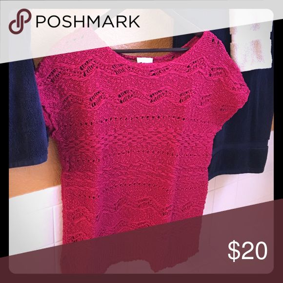 Chicos short sleeve sweater Beautifully woven short sleeve sweater. Pairs nicely with a tank top or long sleeve undershirt. (Not included).  Fushia color. Sweater size is listed on tag as a 1, Chicos sizing is not tradition sizing.  Fits as a M/L Chico's Sweaters Crew & Scoop Necks