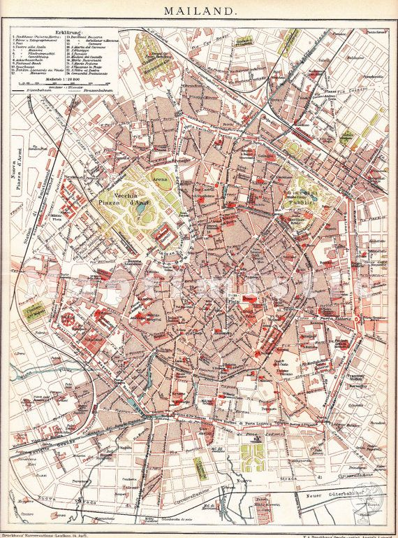 1904 City Map of Milan Capital of Lombardy Italy at by Maptimistic, $15.90