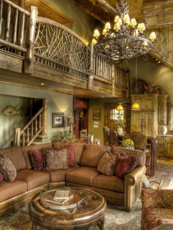 Traditional Family Room Log Cabin Decorating Design, Pictures, Remodel,  Decor And Ideas