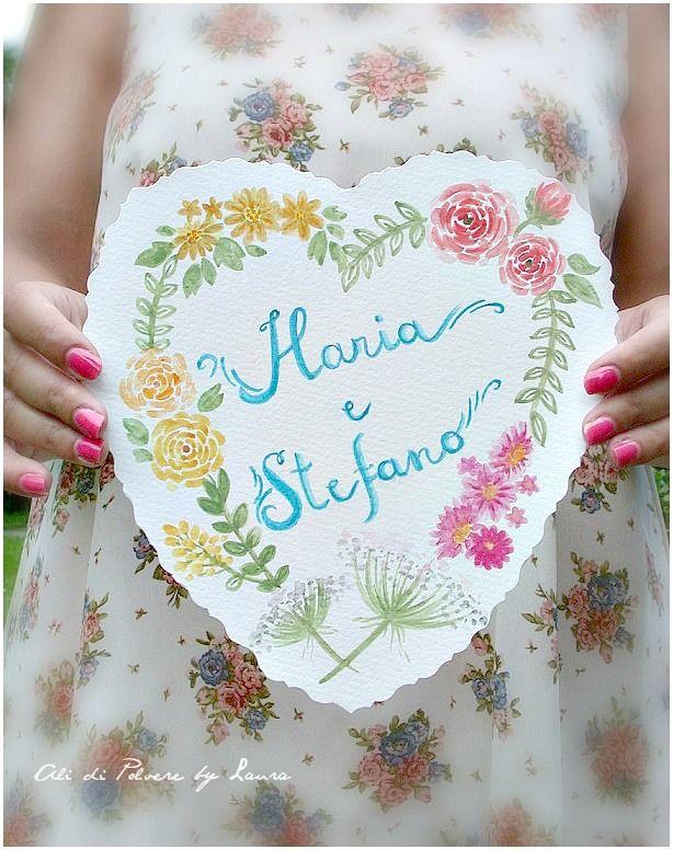 watercolor heart & flowers