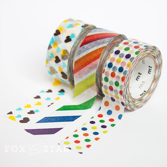 MT Washi Tape  Kid's  Stripe / Dotty / Heart by foxandstar on Etsy, £2.65